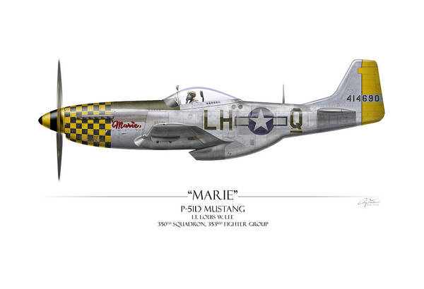 Tinder Wall Art - Painting - Marie P-51 Mustang - White Background by Craig Tinder