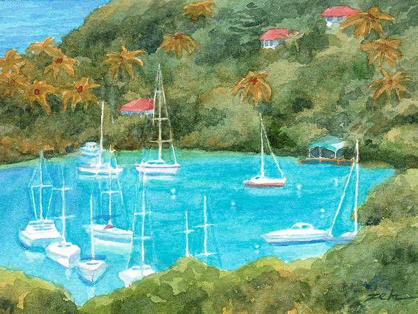 Painting - Marigot Bay Tropical Harbor by Janet Zeh