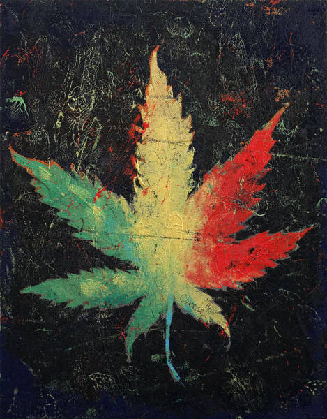 Trippy Wall Art - Painting - Marijuana by Michael Creese