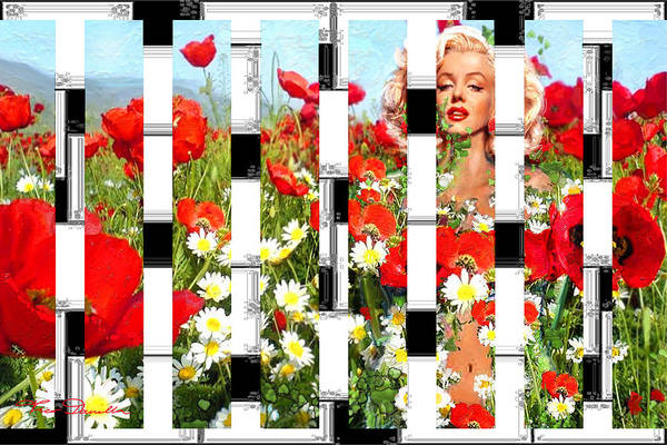 Painting - Marilyn In Poppies 2  by Theo Danella