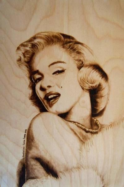 Pirografia Wall Art - Pyrography - Marilyn by Lucia Ivana Cardigliano