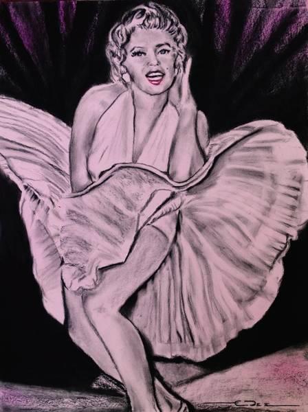 Drawing - Marilyn Monroe Pretty In Pink Lite by Eric Dee