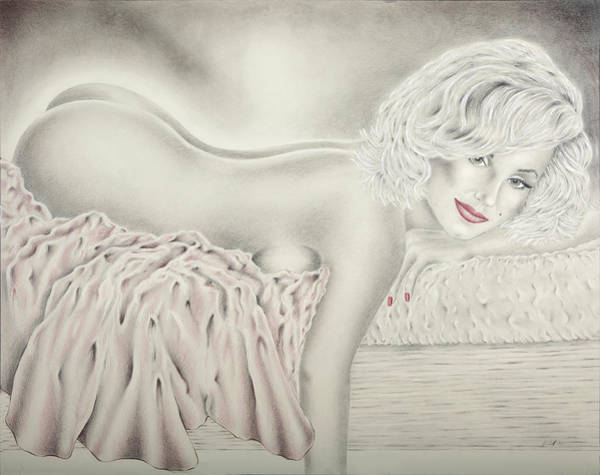 Marilyn Drawing - Marilyn Monroe Reclining Nude by Vincent Wolff