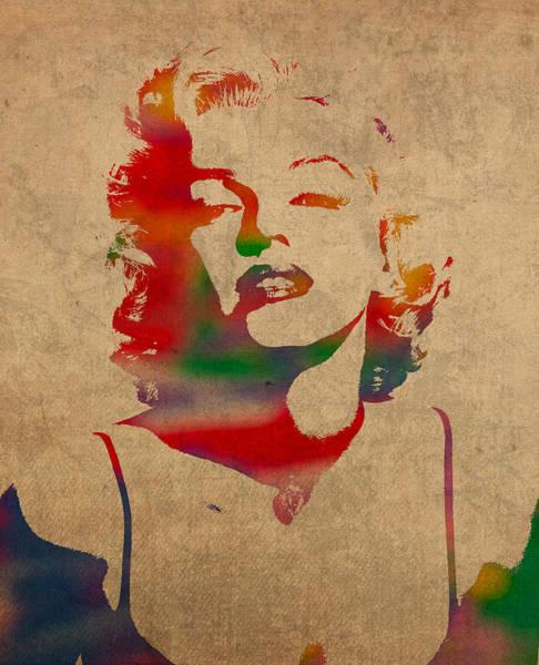 Monroe Wall Art - Mixed Media - Marilyn Monroe Watercolor Portrait On Worn Distressed Canvas by Design Turnpike