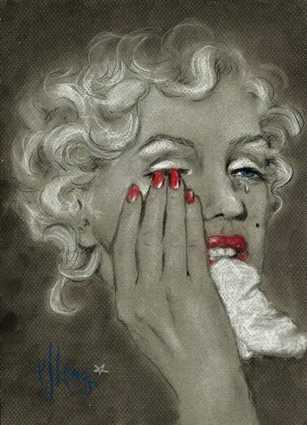 Marilyn Drawing - Marilyn's Tears by PJ Lewis