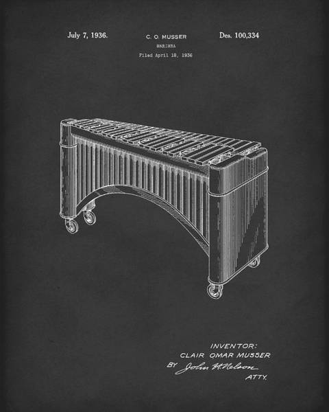 Drawing - Marimba 1936 Patent Art Black by Prior Art Design