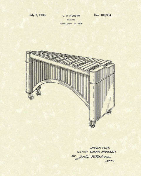 Drawing - Marimba 1936 Patent Art by Prior Art Design