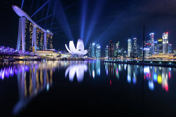 Beam Of Light Photograph - Marina Bay, Singapore by Guo Xiang Chia