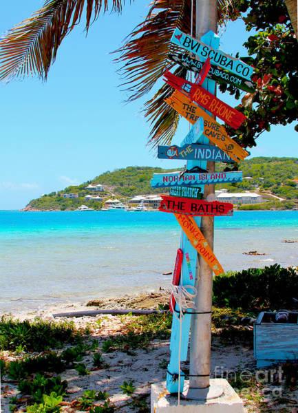 Scrub Photograph - Marina Cay Sign by Carey Chen