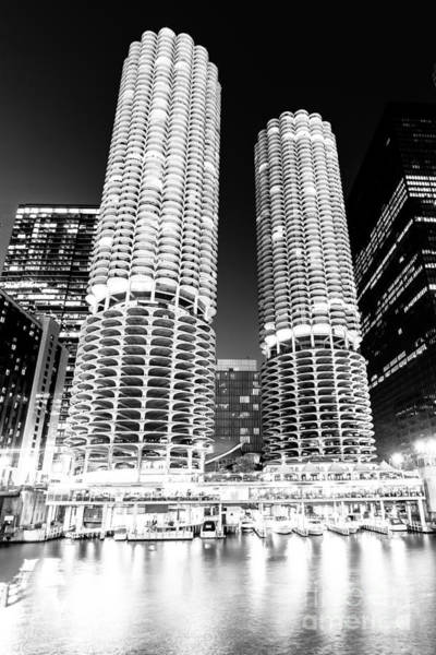 Sears Tower Photograph - Marina City Towers At Night Black And White Picture by Paul Velgos