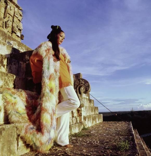 Wall Art - Photograph - Marina Schiano Wearing A Painted Coat by Henry Clarke