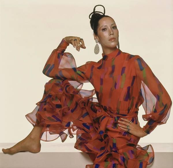 Wall Art - Photograph - Marina Schiano Wearing A Silk Ensemble by Gianni Penati