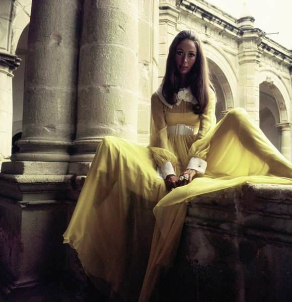 Wall Photograph - Marina Schiano Wearing A Yellow Dress by Henry Clarke