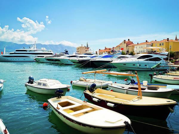 Yacht Photograph - Marina With Yachts In Budva, Budvanska by Domin domin