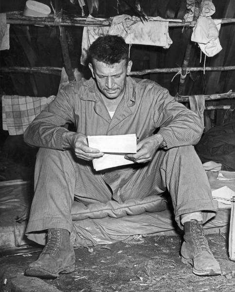 Appearance Photograph - Marine And A Letter From Home by Underwood Archives