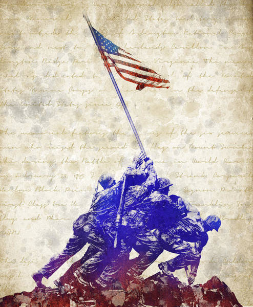 Cemetery Digital Art - Marine Corps War Memorial by Aged Pixel