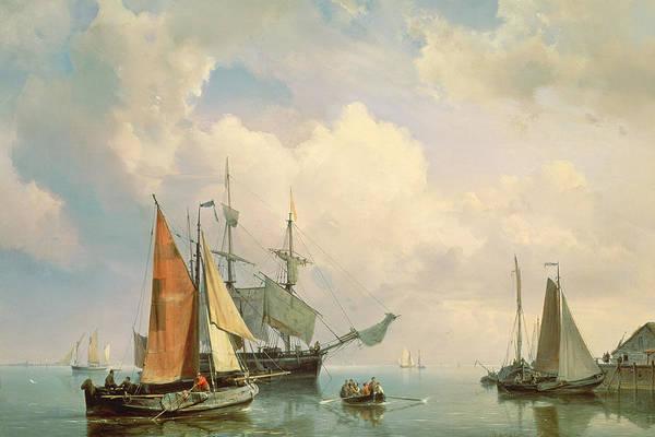 Harbour Painting - Marine  by Johannes Hermanus Koekkoek