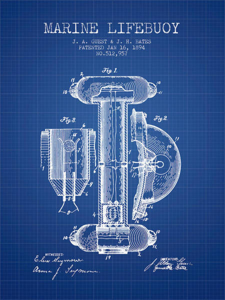 Saving Wall Art - Digital Art - Marine Lifebuoy Patent From 1894 - Blueprint by Aged Pixel