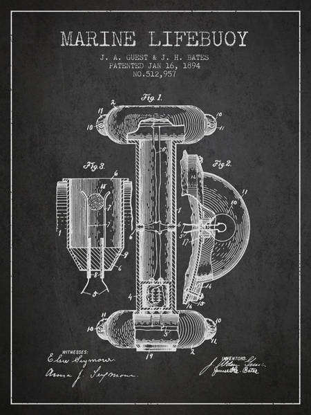 Lifeguard Digital Art - Marine Lifebuoy Patent From 1894 - Charcoal by Aged Pixel