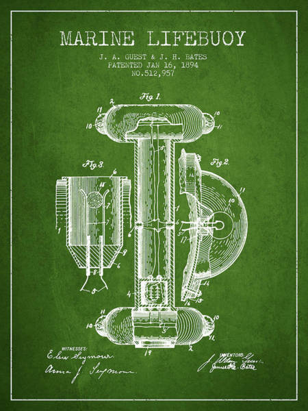 Saving Wall Art - Digital Art - Marine Lifebuoy Patent From 1894 - Green by Aged Pixel