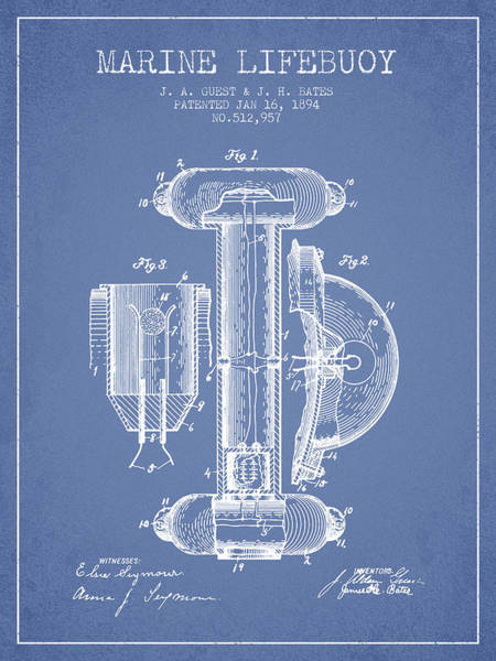 Saving Wall Art - Digital Art - Marine Lifebuoy Patent From 1894 - Light Blue by Aged Pixel