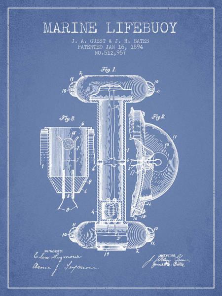 Lifeguard Digital Art - Marine Lifebuoy Patent From 1894 - Light Blue by Aged Pixel