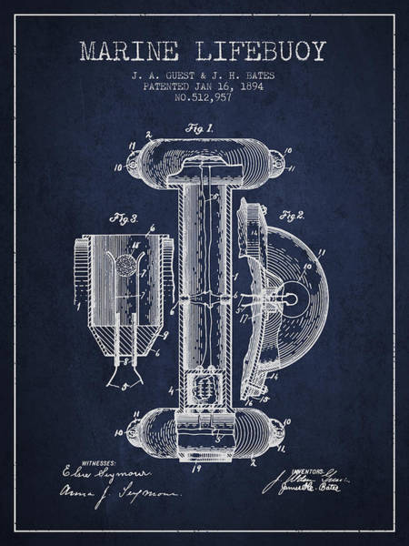 Saving Wall Art - Digital Art - Marine Lifebuoy Patent From 1894 - Navy Blue by Aged Pixel