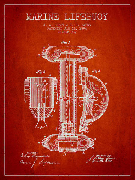 Lifeguard Digital Art - Marine Lifebuoy Patent From 1894 - Red by Aged Pixel