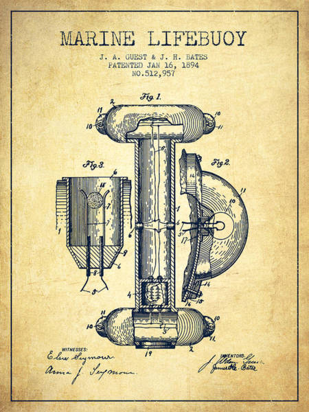 Lifeguard Digital Art - Marine Lifebuoy Patent From 1894 - Vintage by Aged Pixel