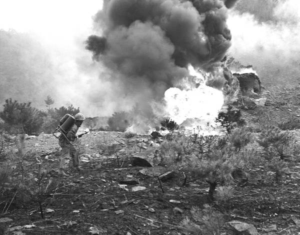 Wall Art - Photograph - Marine With Flamethrower by Underwood Archives