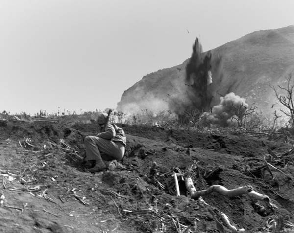 Mounted Shooting Photograph - Marines Blast Jap Positions by Everett