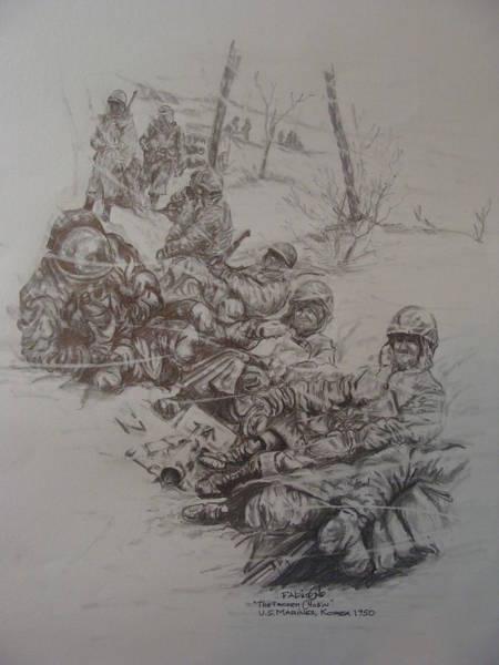 Wall Art - Drawing - Marines In Korea by Fabio Cedeno