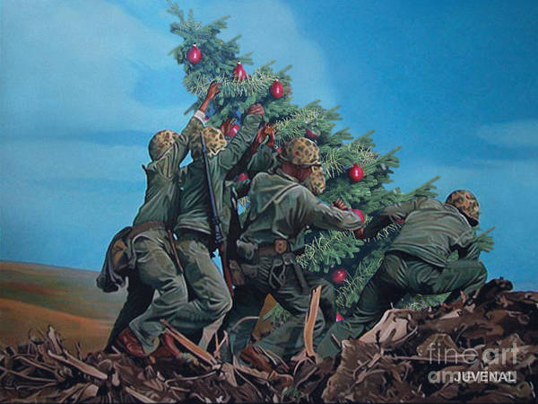 Wall Art - Digital Art - Marines Raise Christmas Tree by Joseph Juvenal