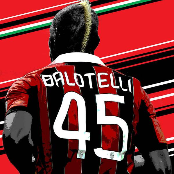 Decorative Wall Art - Photograph - Mario Balotelli Ac Milan Print by Pro Prints