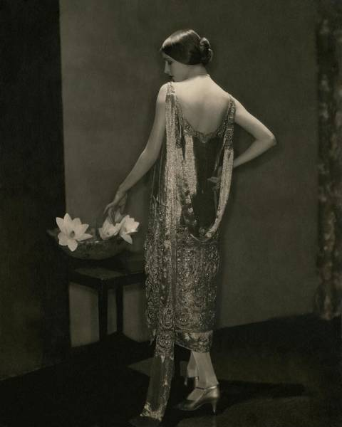 Plant Photograph - Marion Morehouse Wearing A Chanel Dress by Edward Steichen