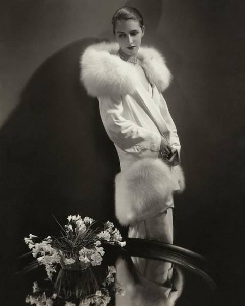Flower Photograph - Marion Morehouse Wearing An Augustabernard Jacket by Edward Steichen