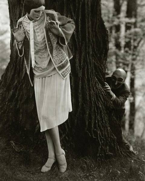 July 15th Photograph - Marion Morehouse With A Man Behind A Tree by Edward Steichen