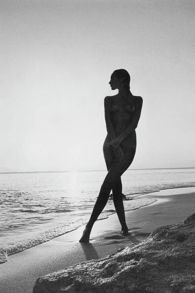 Water Photograph - Marisa Berenson At A Beach by Arnaud de Rosnay