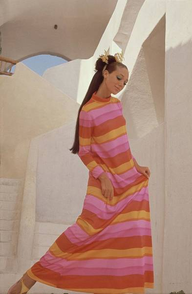 Facade Photograph - Marisa Berenson In A Bright Striped Dress by Henry Clarke