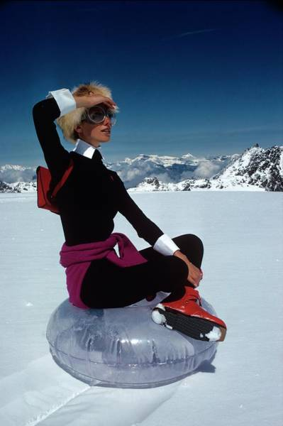 Central Europe Photograph - Marisa Berenson In The Snow by Arnaud de Rosnay
