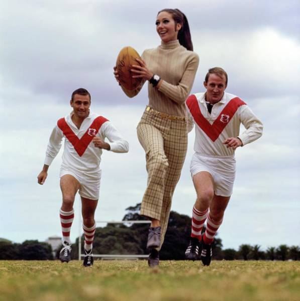 Sports Uniform Photograph - Marisa Berenson Playing Rugby by Arnaud de Rosnay