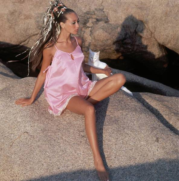 Cats Photograph - Marisa Berenson Sitting On A Rock by Henry Clarke