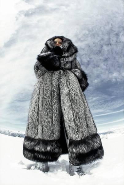 Central Europe Photograph - Marisa Berenson Wearing A Fur Coat by Arnaud de Rosnay