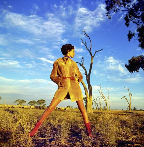 Wall Art - Photograph - Marisa Berenson Wearing A Kangaroo Coat by Arnaud de Rosnay