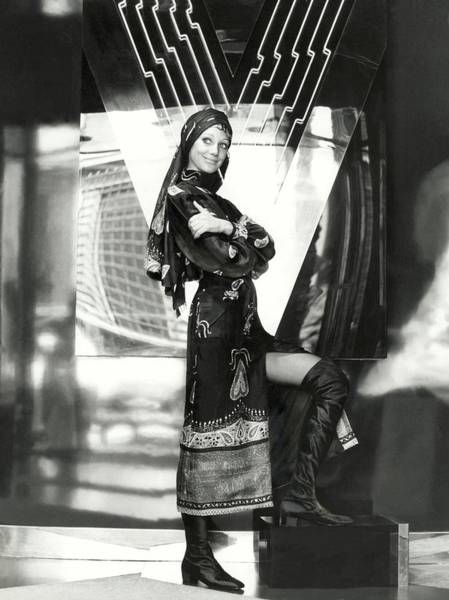 Traditional Clothing Photograph - Marisa Berenson Wearing A Paisley Dress And Scarf by Elisabetta Catalano
