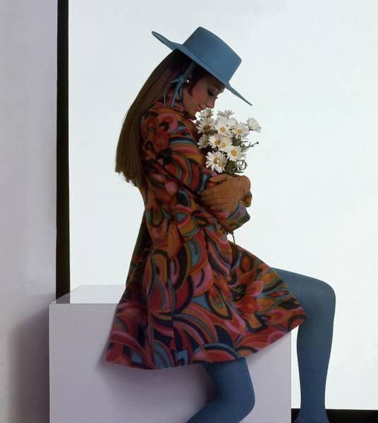 Blue Flower Photograph - Marisa Berenson Wearing A Printed Coat by Gianni Penati