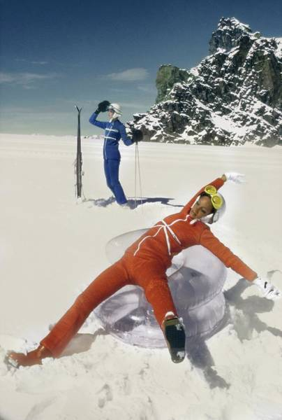 Central Europe Photograph - Marisa Berenson Wearing A Skiing Outfit by Arnaud de Rosnay