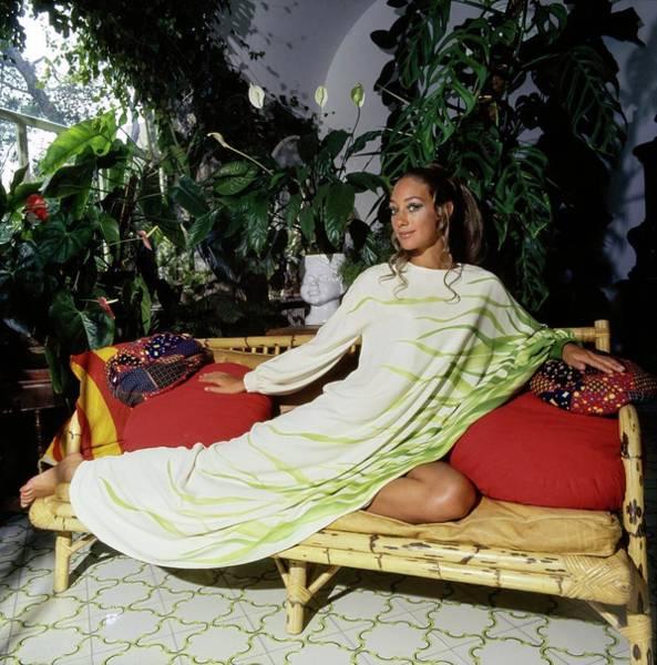 Patio Photograph - Marisa Berenson Wearing A Valentino Dress by Arnaud de Rosnay