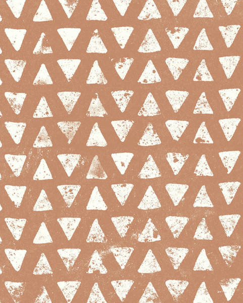 Triangles Painting - Mark Making Tile Pattern Iv Rust Crop by Moira Hershey