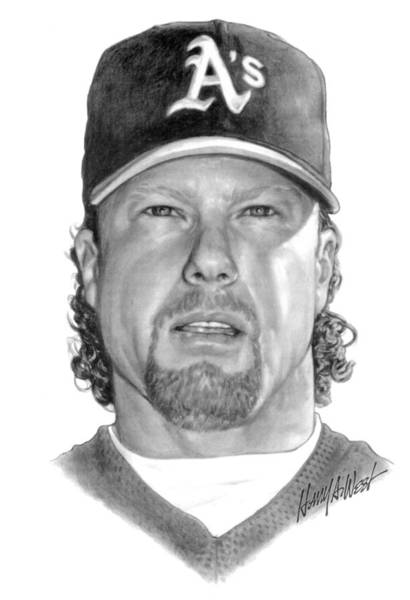 Famous People Drawing - Mark Mcgwire by Harry West